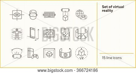 Set Of Virtual Reality Line Icons. Dusb, Planet And Gamepad, 3d Man. Virtual Reality Concept. Vector