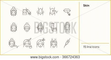 Skin Icon Set. Organic Mask, Weight Loss, Face, Needle. Skin Care Concept. Can Be Used For Topics Li