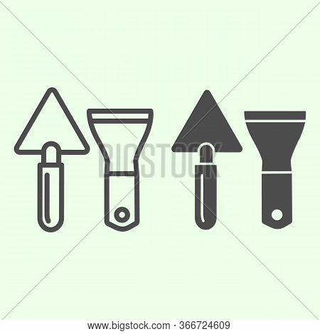 Building Spatula Line And Solid Icon. Trowel And Putty Knife Or Scraper Outline Style Pictogram On W
