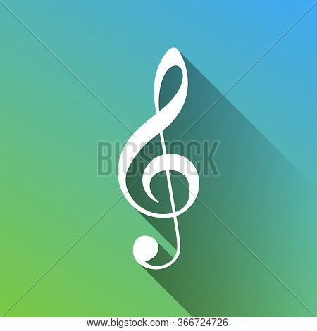 Music Violin Clef Sign. G-clef. Treble Clef. White Icon With Gray Dropped Limitless Shadow On Green