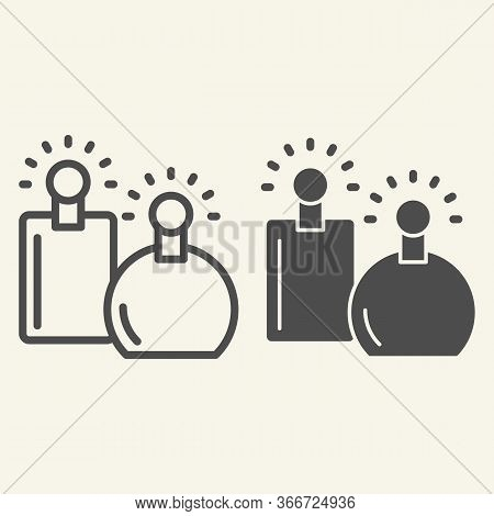 Perfumes Line And Solid Icon. Two Perfume Fragrance Bottles Symbol, Outline Style Pictogram On Beige