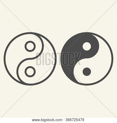 Yin Yang Line And Solid Icon. Harmony And Balance Symbol, Outline Style Pictogram On Beige Backgroun