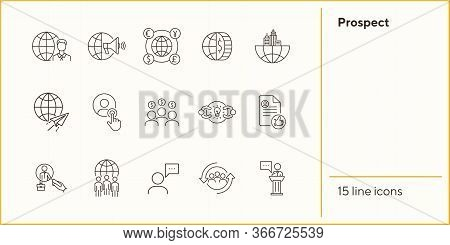 Prospect Line Icon Set. Customer, Target Audience, Money, Globe. Business Concept. Can Be Used For T