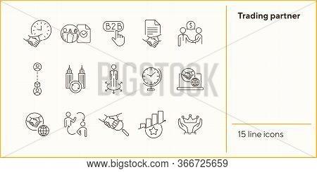 Trading Partner Icons. Set Of Line Icons. B2b, Partnership, Agreement, Teamwork. Business Relationsh