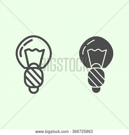 Light Bulb Line And Solid Icon. Electric Illumination Halogen Lamp Outline Style Pictogram On White