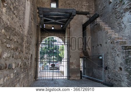 Italy, Lombardy - August 05 2018: The View Of Walls Of The Scaliger Castle On August 05 2018 In Sirm