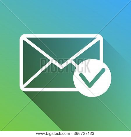 Mail Sign Illustration With Allow Mark. White Icon With Gray Dropped Limitless Shadow On Green To Bl