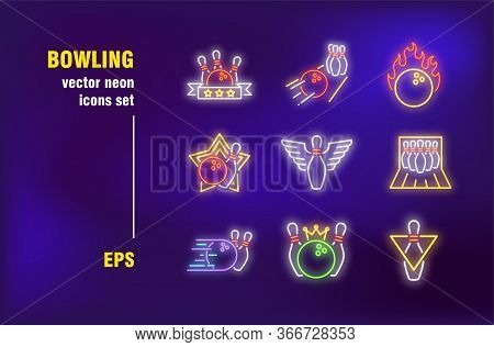 Bowling Collection In Neon Style. Ball, Strike And Skittles Alley. Vector Illustrations For Bright B