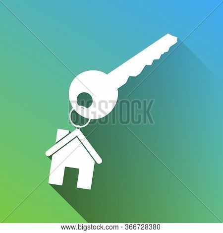 Key With Key Chain As An House Sign. White Icon With Gray Dropped Limitless Shadow On Green To Blue