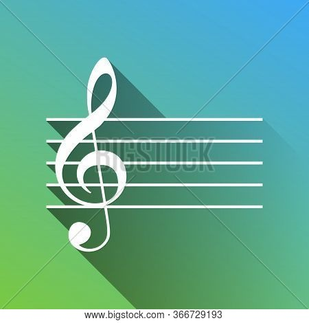 Music Violin Clef Sign. G-clef. White Icon With Gray Dropped Limitless Shadow On Green To Blue Backg