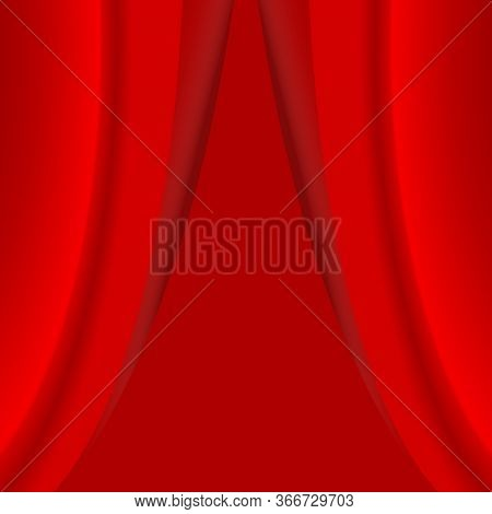 Half Open Red Curtain. Realistic Red Velvet Curtain On Red Background.