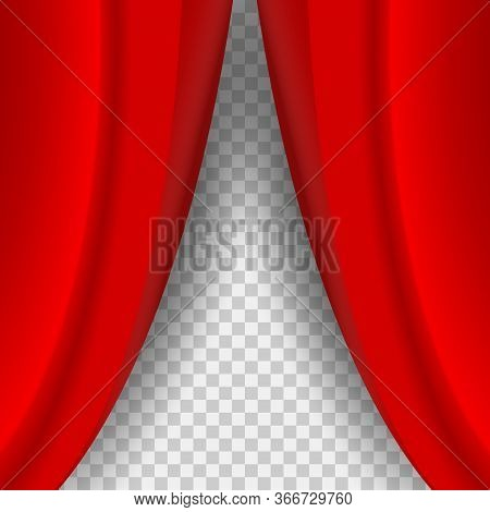 Half Open Red Curtain With Soft Shadow. Realistic Red Velvet Curtain On The Checkered Background.