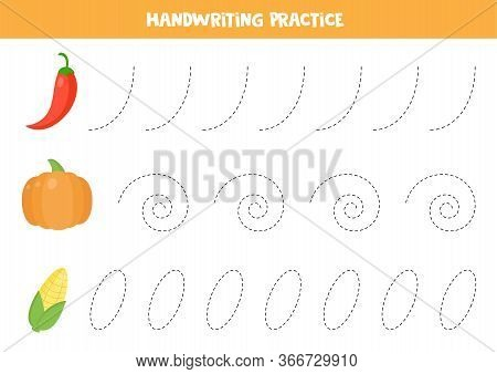 Handwriting Practice With Cartoon Red Pepper, Pumpkin, And Corn. Tracing Lines For Kids. Learning To