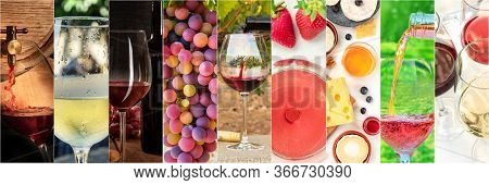 Wine Collage Design Template. A Panorama Of Many Photos Of Wine Glasses, Pouring Wine, Grapes At Vin