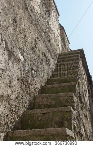 Italy, Lombardy - August 05 2018: The View Of Narrow Stairs At The Scaliger Castle On August 05 2018