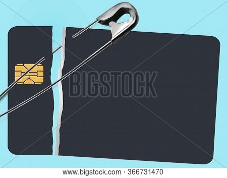 Repairing A Bad Credit History Is Illustrated With Safety Pins Holding Together A Broken Credit Card