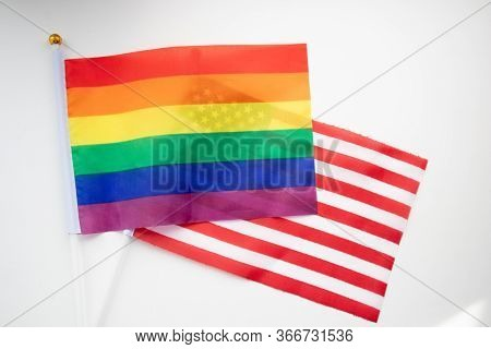 Rainbow And American Flag. Usa Stars And Stripes Flag With A Gay Pride Lgbt Flag
