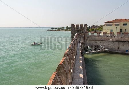 Italy, Lombardy - August 05 2018: The View Of The Scaliger Castle Fortified Wall On August 05 2018 I