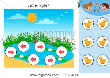 Educational Game For Kids. Left Or Right Pond With Ducks. Developing Kids Attentiveness And Spatial