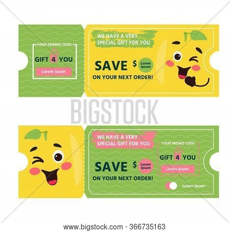 Vector Gift Card With Coupon Code. Sale Template With Fun Happy Face Lemon. Certificate Template. Vo