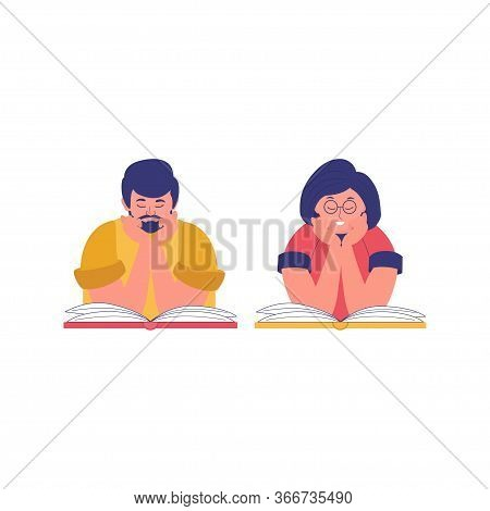 A Young Man And Woman Reading Book. Reading Book Club. Book Festival. Concept Of Online Reading Or L