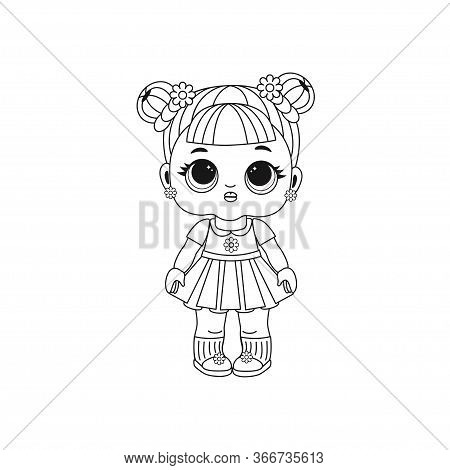 Cute Lol Doll In Fashionable Clothes. Coloring Book For Kids. Black And White Vector Illustration. D