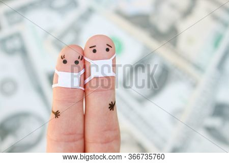 Fingers Art Of Couple With Face Mask On Background Of Money.