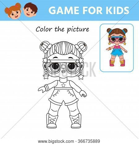 Game For Kids. Coloring Book For Children. Cute Lol Doll. Preschool Worksheet Activity. Vector Illus