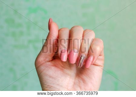 Acrylic Nails Before The Correction. Unsightly Manicure.