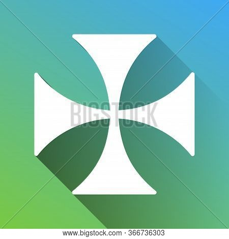Maltese Cross Sign. White Icon With Gray Dropped Limitless Shadow On Green To Blue Background. Illus