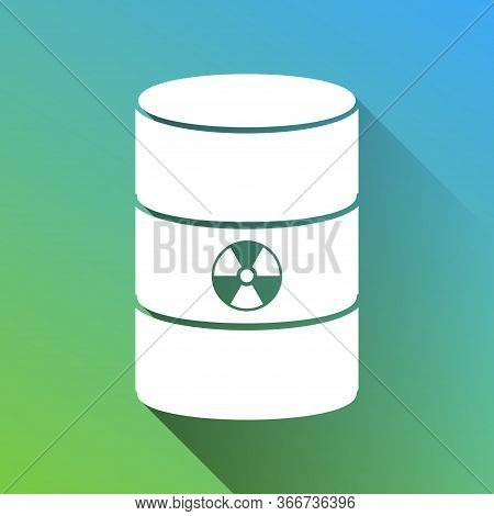Radiation Round Sign. White Icon With Gray Dropped Limitless Shadow On Green To Blue Background. Ill