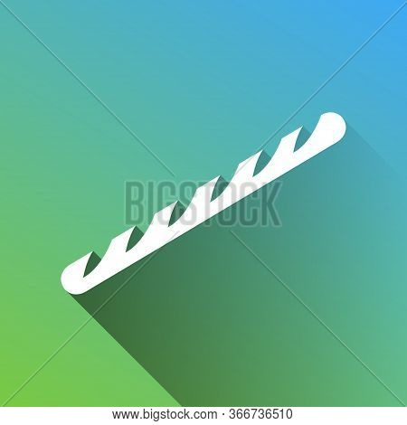 French Baguette Sign. White Icon With Gray Dropped Limitless Shadow On Green To Blue Background. Ill