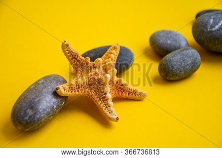 Nautical, Marrine Concept. Starfish With Stones Against A Yellow Background With Copy Space. Summer