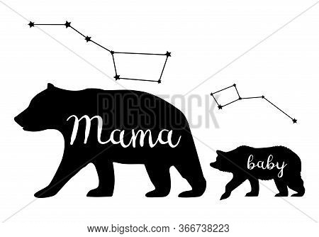 Vector Illustration Of A Mama Bear And Baby Bear Silhouettes. Bear, Animal, Nature, Wilderness Backg