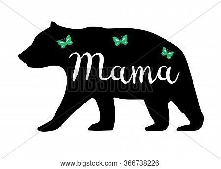 Vector Illustration Of A Mama Bear. Floral Bear Animal, Nature, Wilderness Background.