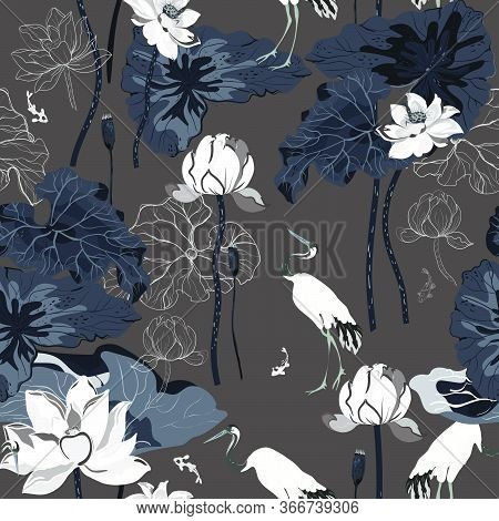 A Pond With Huge Flowers And Lotus Leaves And Red-headed Cranes Hunting Fish. Seamless Floral Vector