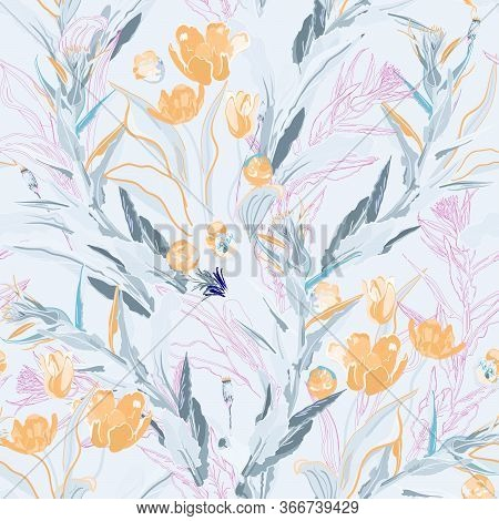 Inflorescences Of Yellow Tulip Flowers In Dense Green Thickets Of Leaves And Twigs Of Grass On A Whi