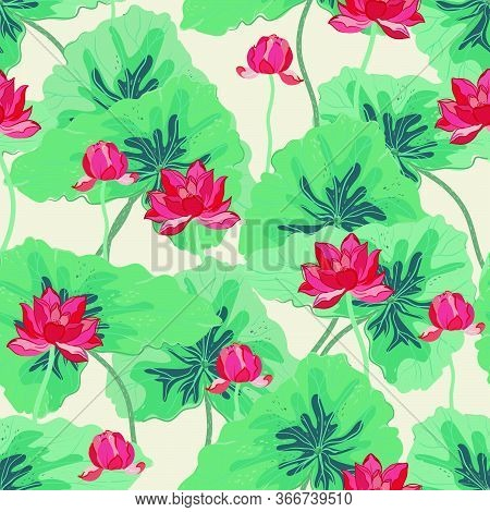 Red Lotuses With Large Green Leaves On A Gentle Light Green, Aquamarine, Turquoise Background. Vecto