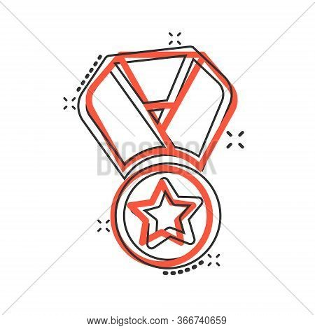 Medal Icon In Comic Style. Prize Cartoon Sign Vector Illustration On White Isolated Background. Trop