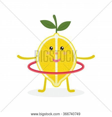 Cute Lemon Cartoon Character Doing Exercises With Hula Hoop. Eating Healthy. Isolated Illustration O