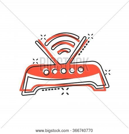 Wifi Router Icon In Comic Style. Broadband Cartoon Vector Illustration On White Isolated Background.