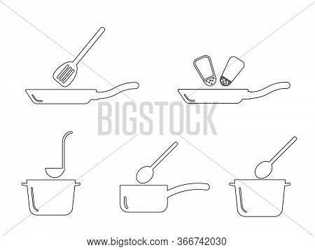 Cooking Kitchen Pot Pan Utensil Outline Set. Depicting Various Cooking Pot And Pans Found In Kitchen