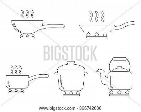 Cooking Pot Pan Kettle Outline Set. Various Outline Icons Depicting Cooking Utensil Pot Pan Kettle.