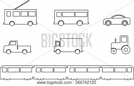 Land Transport Vehicles Set Outline. A Set Of Various Ground Vehicles. Bus Tramp Car Lorry Truck Tra