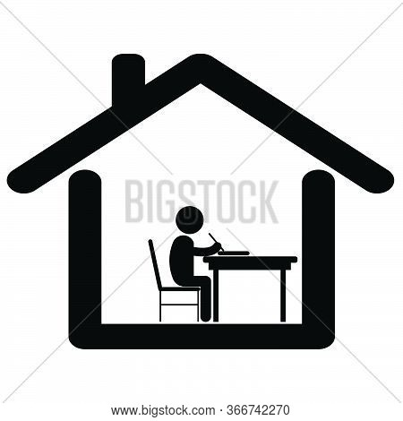 Study Work From Home. Pictogram Depicting Student Boy Studying Writing At Home. Lock Down Due To Cov