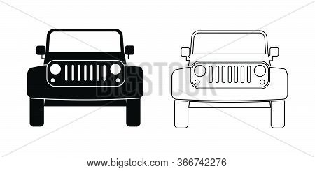 Suv Car Front View Outline Set. A Set Of Two Sports Utility Vehicle Frontal View. Black And White Ep