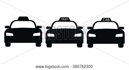 Taxi Cab Front View Set. Three Taxi Cab Car Automobile Black And White Illustration. Eps Vector