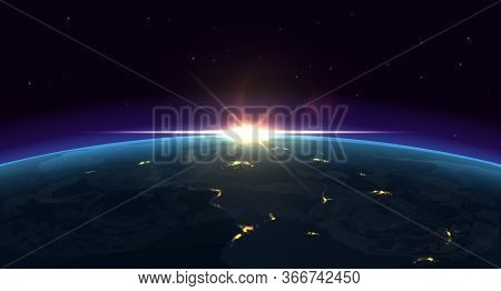 Earth View. Realistic Night Background Of Planet With Glowing Blue Atmosphere And City Lights From O