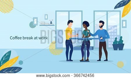 Business People Characters Having Coffee Break Time Lunch. Office Life Concept. Colleagues Taking A