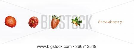 Photographic Collage With Pieces Of Ripe Red Strawberry On White Background With Title. Long Banner.